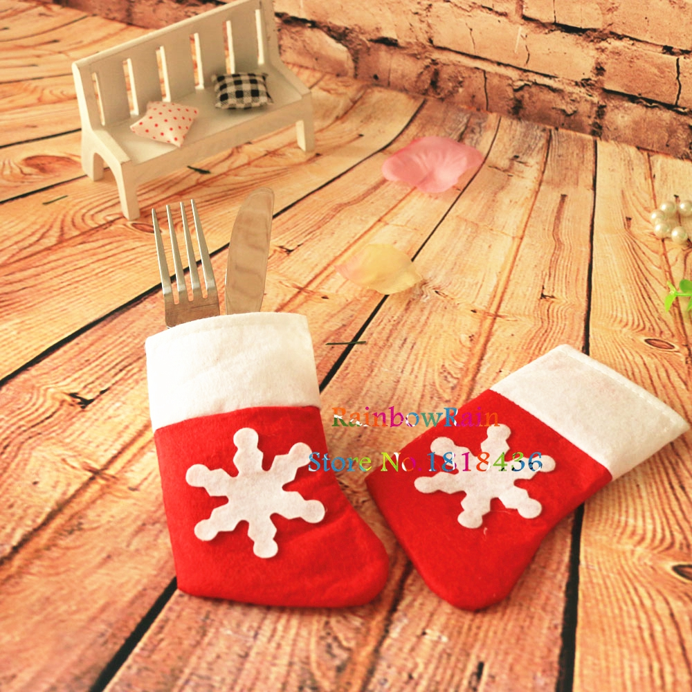 Hot christmas snowflake stockings holders for cutlery for Decor vendors