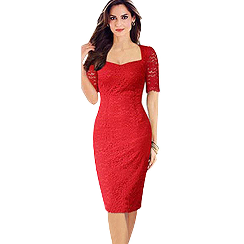 Short Red Lace Formal Dress Summer Vestidos De Festa Plus