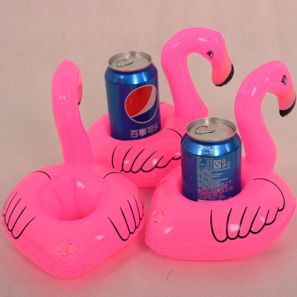 Inflatable Water Toys Inflated Baby Flamingo Bath Toys Children's Party Favors Swimming Pool Water Float Drink Cellphone Holder(China (Mainland))