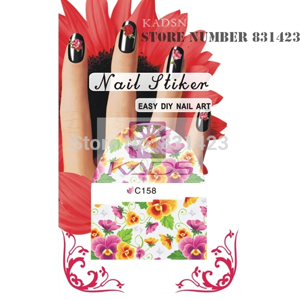 HOTSALE C158 Mix Styles Flower Water Decals Rose Tulip Peony Designs Packing Nail Art Stiker Manicure Tools Nail decoration(China (Mainland))
