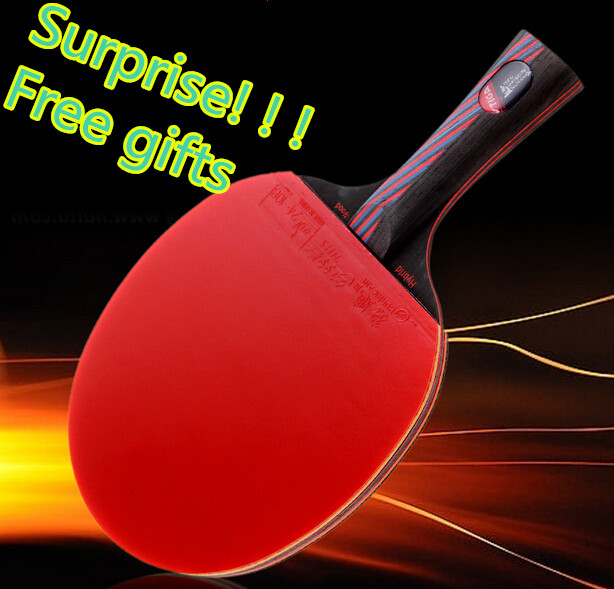 Best quality bat handle table tennis rackets red blue rubbers pingpong paddle short holder straight grip offensive racket(China (Mainland))