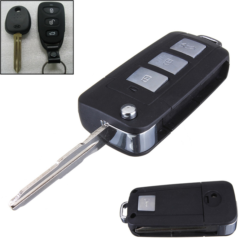 2015 New 3 Buttons + Panic Modified Flip Remote Key Shell for HYUNDAI for Elantra for Sonata for Genesis Folding