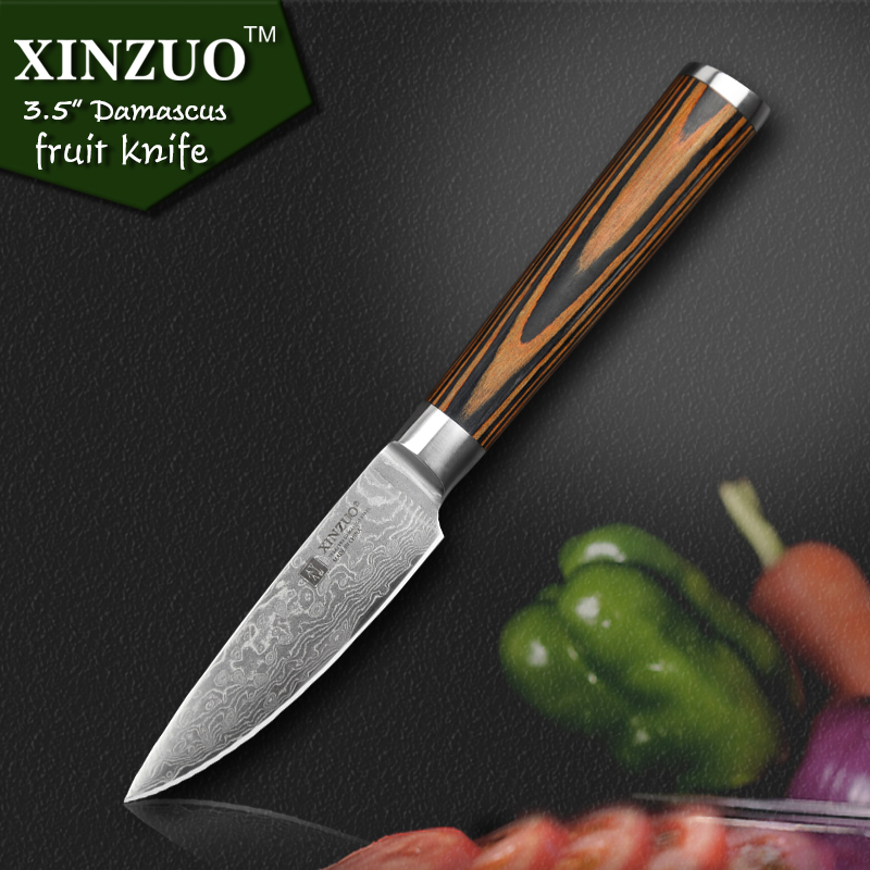 xinzuo new 3 5 fruit knife damascus kitchen knives japanese vg10 paring knife damascus steel. Black Bedroom Furniture Sets. Home Design Ideas