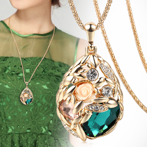 2015 Brand Long Necklace Gold Plated Popcorn Chain Austrian Crystal Jewelry Pendant Necklaces Women Gift Rose Flower Necklace(China (Mainland))