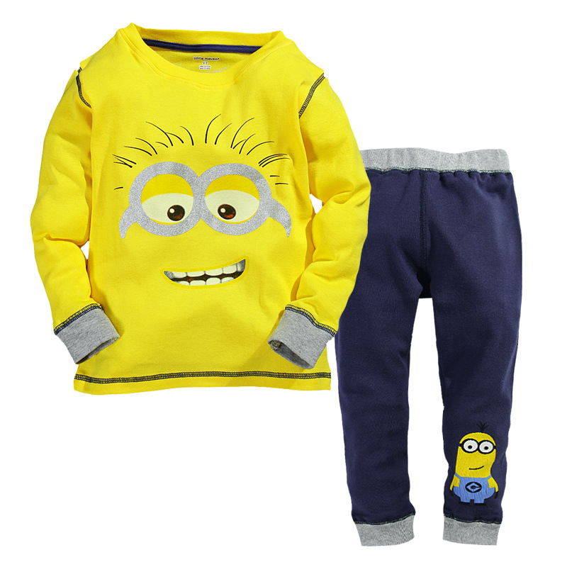 Baby boy clothes 2016 New despicable me 2 minion boys girls clothes hoodies + casual long pants 2pc clothing sets(China (Mainland))