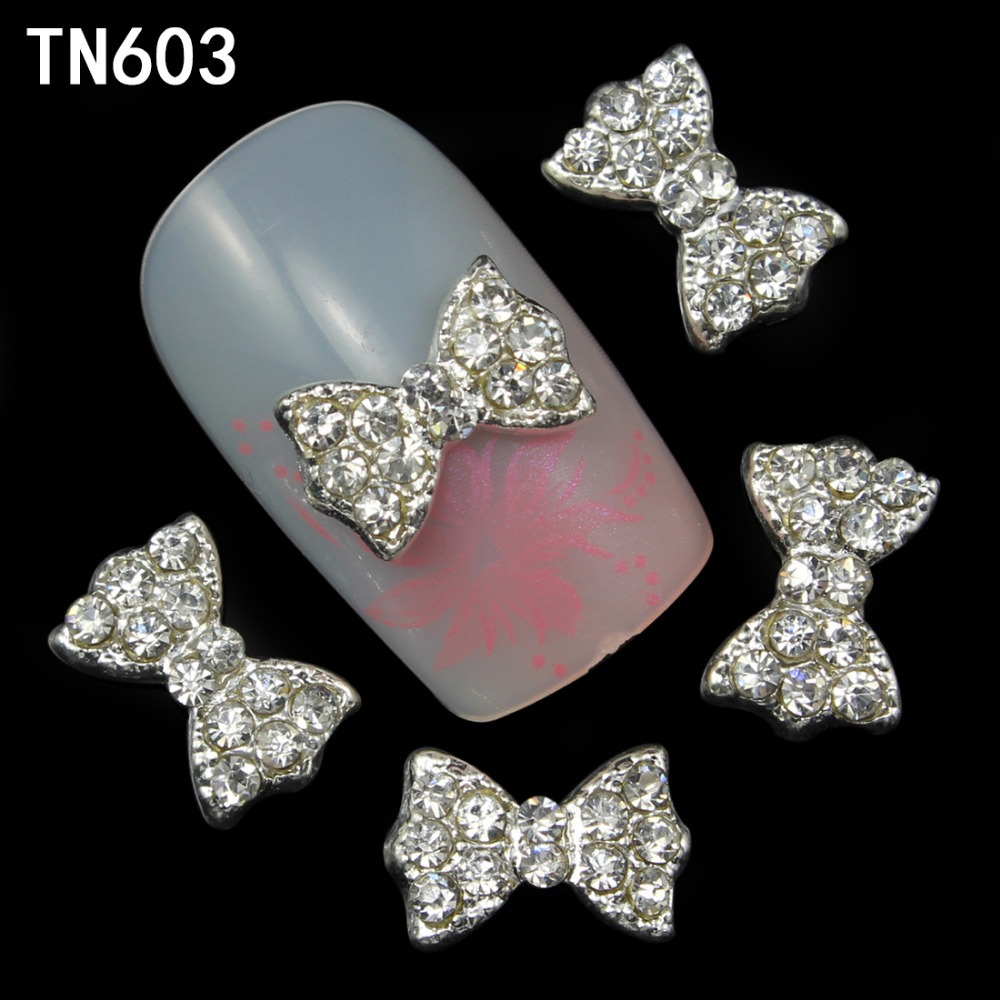 10pcs Alloy Glitter 3d Nail Bows Art Decorations with Rhinestones ,Alloy Nail Charms,Jewelry on Nails Salon Supplies TN603(China (Mainland))