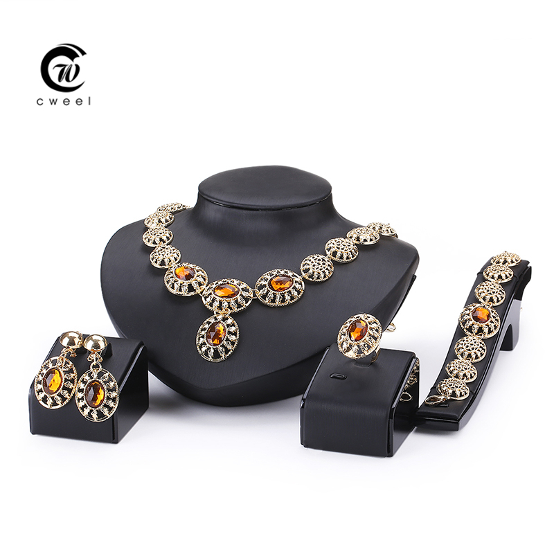Fine Wedding Accessories African Beads Jewelry Sets Crystal CZ Diamond Gold Plated Bridal Necklace Bracelet Earrings Rings Set(China (Mainland))