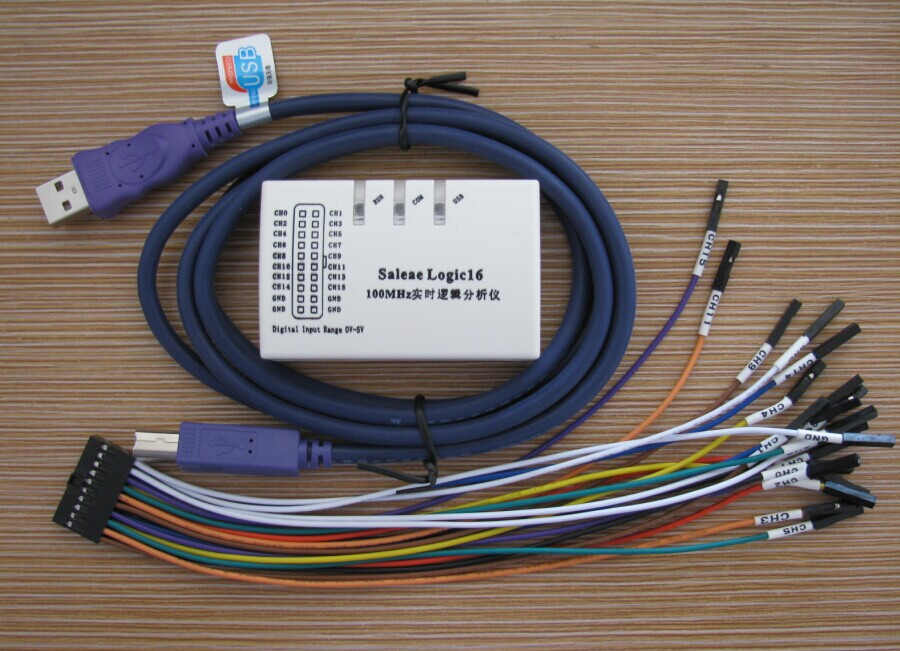 USB Logic Analyzer 100M max sample rate 16Channels 10B samples MCU ARM FPGA debug tool