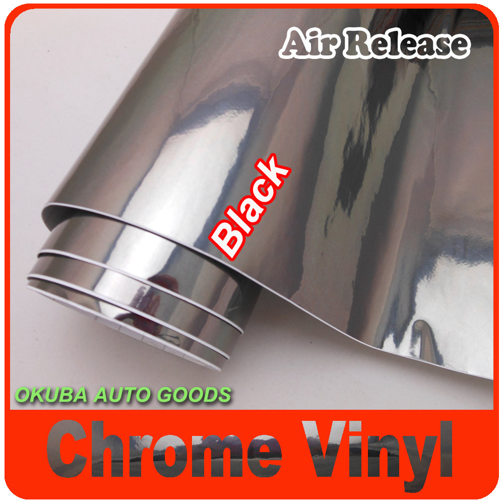 FedEx FREE SHIPPING High Gloss Black Chrome Vinyl Wrap For Car Stickers With Air Bubble Free Size: 1.52*30M/Roll(China (Mainland))