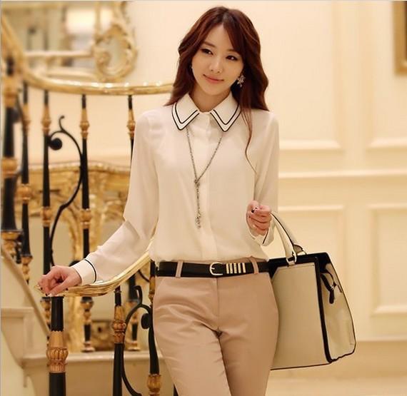 New 2014 Korean Style Long Sleeve Sexy Chiffon Blouse