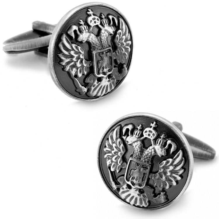 Antic Silver Plated Two Heads Eagle Basso-Relievo cufflinks mens Cuff Links + Free Shipping !!! gift metal buttons<br><br>Aliexpress
