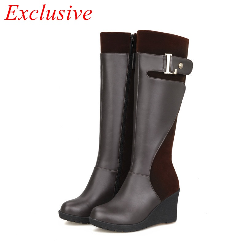 2015 new fashion women boots round toe zipper casual boots woman wedge heel knee high boots brown women boots big size 34-48<br><br>Aliexpress