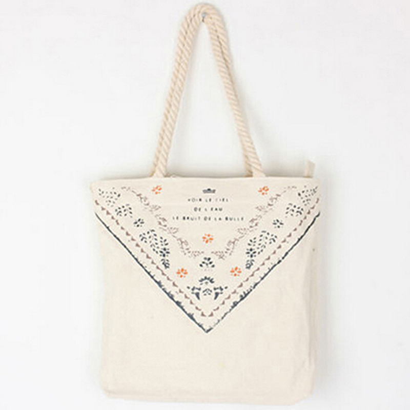 2016 Eco Friendly Reusable Shopping Tote Shoulder Bags Cotton Grocery Packing Fold Recyclable Bag Floral decoration Handbag(China (Mainland))