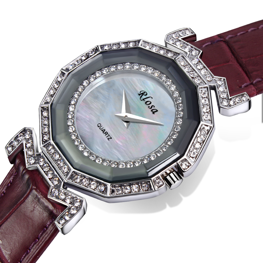 DC1989 Women Fashion Watch Made with Genuine Leather Strap Platinum Plated Case with Crystals Japan Movement MOP Dial(China (Mainland))