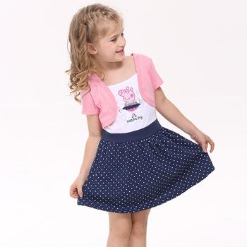 nova kids false two pieces girl dress summer cartoon character cute dresses children's clothes baby frocks polka dot