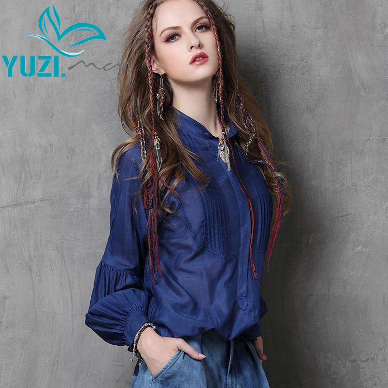 Blusa Feminina 2017 Yuzi Autumn New Vintage Silk Blouse Stand Collar Lantern Sleeve Women Blouses B9535 Womens Tops Fashion(China (Mainland))