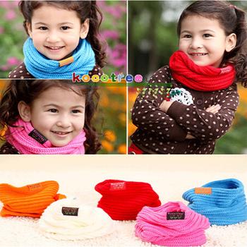 2016 New Children's Muffler Baby Warm Scarf Boys Girls Knitted O Ring Style Designer Knitting Kids Neck Warmer Neckerchief