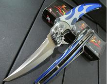 Ultimate fantasy serie de infierno mensajero cuchillo plegable, 58HRC cráneos cuchillo de la supervivencia, portátil cuchillo que acampa al aire estilo mágico