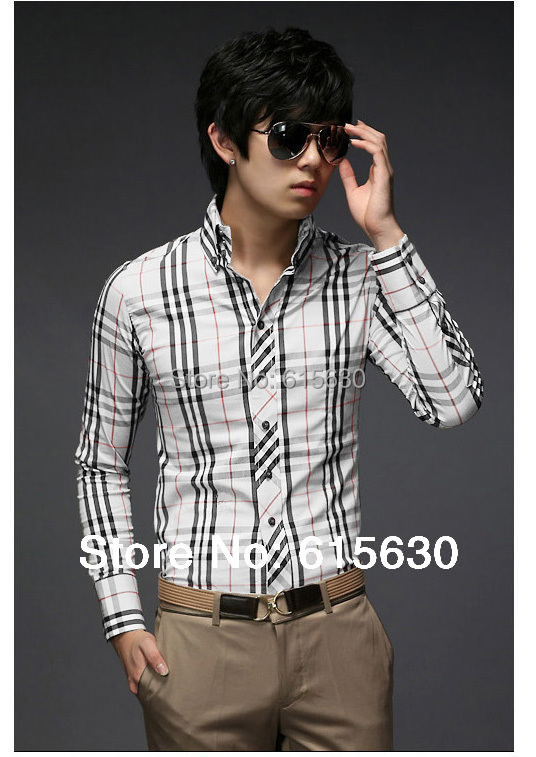 Drop Shipping Mens slim fit casual Plaid long sleeve Shirts Stylish brand unique shirts Size:M-XXL X-05 - working for best store