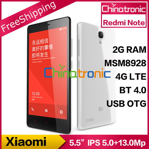 "100% Original Xiaomi Redmi Note 4G LTE Dual SIM 4G FDD LTE Mobile Phone Quad Core 5.5""HD IPS 13.0MP 2G/1G RAM 16G/8G ROM(China (Mainland))"