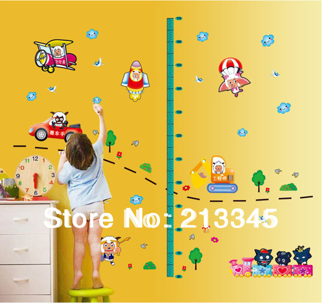 [Saturday Monopoly] new products for kids height wall sticker cartoon sticker car rocket plane lamb 6383(China (Mainland))