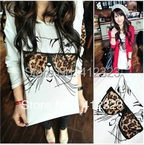 2015 NEW women lady girls fashion long sleeve leopard cat chiffon shirt blouse cat glass shirts
