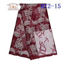 sequins french lace net fabric 2016 latest designs for African woman fashion dress dry lace B72