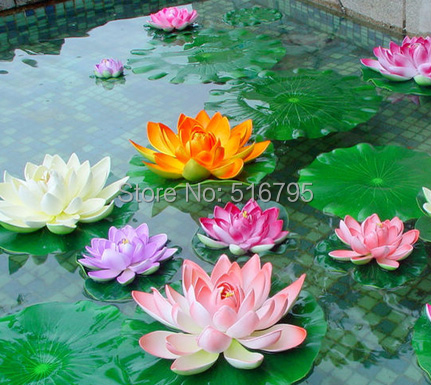 Bouquet Artificial Lotus Silk Flower Home Party Decoration NO VASE Floral Art For Water Fish Tank Decor 2Size(China (Mainland))