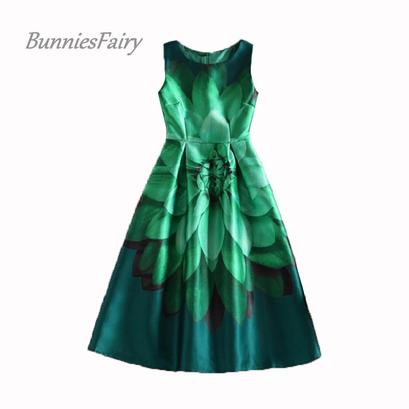 BunniesFairy Celebrity-inspired Women Elegant Vintage Retro Flower Floral Print Vest Dresses Sleeveless O-Neck Vestido de Fiesta(China (Mainland))