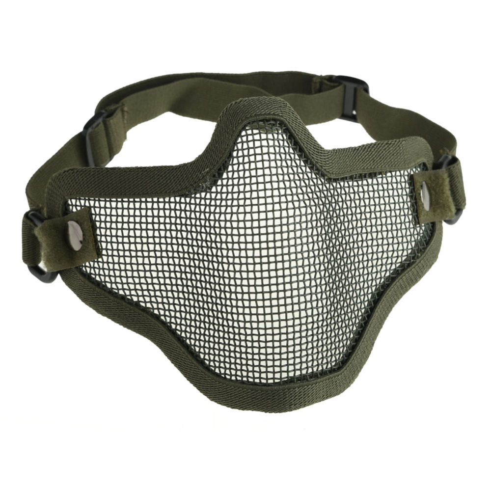 Гаджет  New Adjustable Strike Steel Mesh Airsoft Half Mask Face Protector Green CLSK None Безопасность и защита