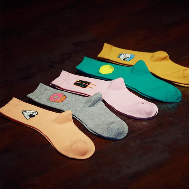 Оптовая продажа корейских женщин милый серия продуктов питания длинные носки каваи молоко коробка лимон пончик ролл-суши мультфильм носок дешевые хлопчатобумажные носки в продаже