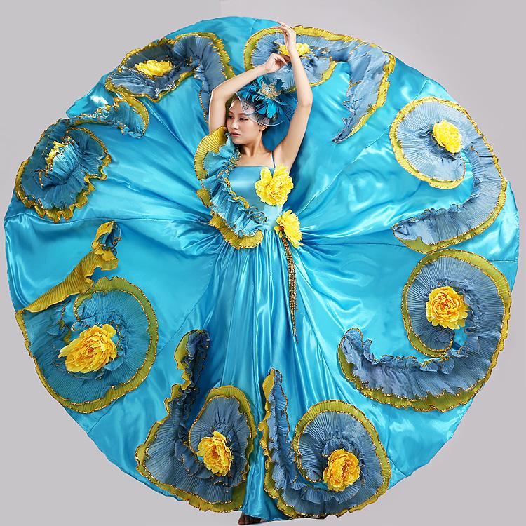 Swing grande grupo dancce traje banquete azul flor hecha a mano femenina de danza moderna ropa de rendimiento etapa(China (Mainland))