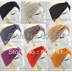 100 pcs/Lot Winter women Wholesale Knit Hairband Crochet warmer Head wrap Headband Ear Warmer Gift