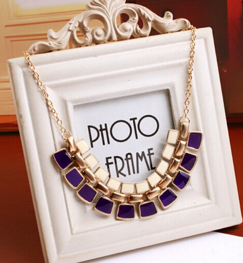 2016 Trendy Gem Irregular Square Pendants Necklace Link Chain Collar Long Plated Enamel Statement Necklace Women Jewelry FN19(China (Mainland))