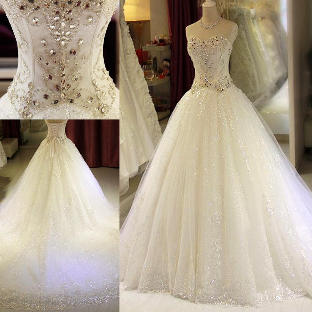 Plus Size Wedding Dresses With Crystal Ball Gown vestidos de novia Appliques Sweetheart Off The Shoulder Lace Up Bridal Gowns(China (Mainland))