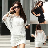 Beat Selling Black White Women Hollow Sexy Club Wear Dress Summer Casual Party Mini Dress 38