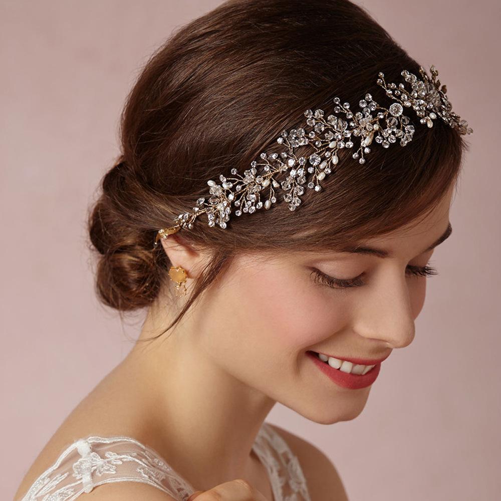 gold silver handmade rhinestone bridal headband wedding crystal hair accessories jewelry bridal bridesmaid headbands crown 6(China (Mainland))