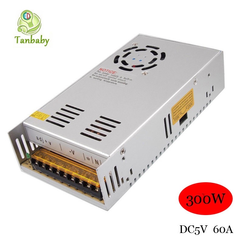 Tanbaby 300W 5V 60A Switching Power Supply led lighting project Transformers in steel box AC110V/220V to DC5V(China (Mainland))