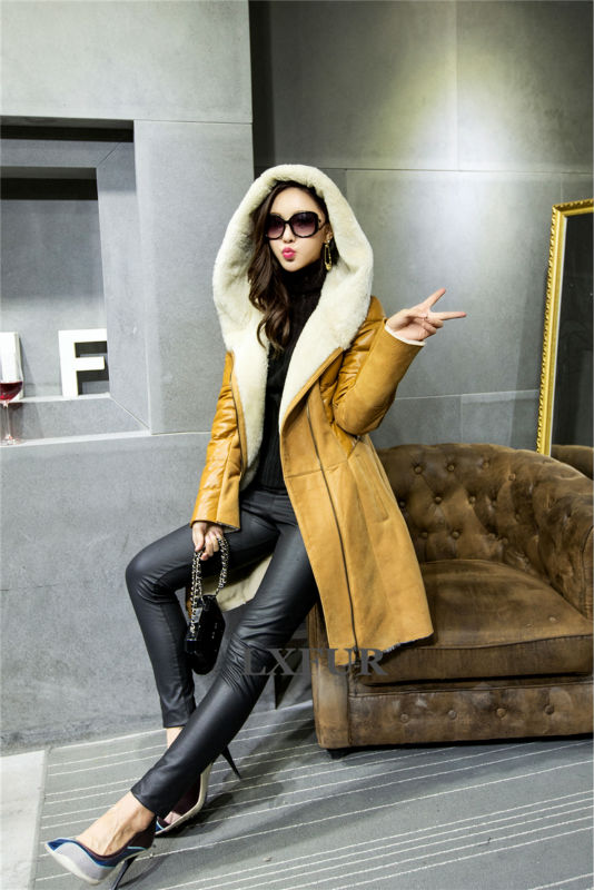 2015 Winter New Womens Real Double-faced Fur Hooded Long Overcoats Australia Import Merino Sheep Fur Parka with Hoody LX00657Одежда и ак�е��уары<br><br><br>Aliexpress