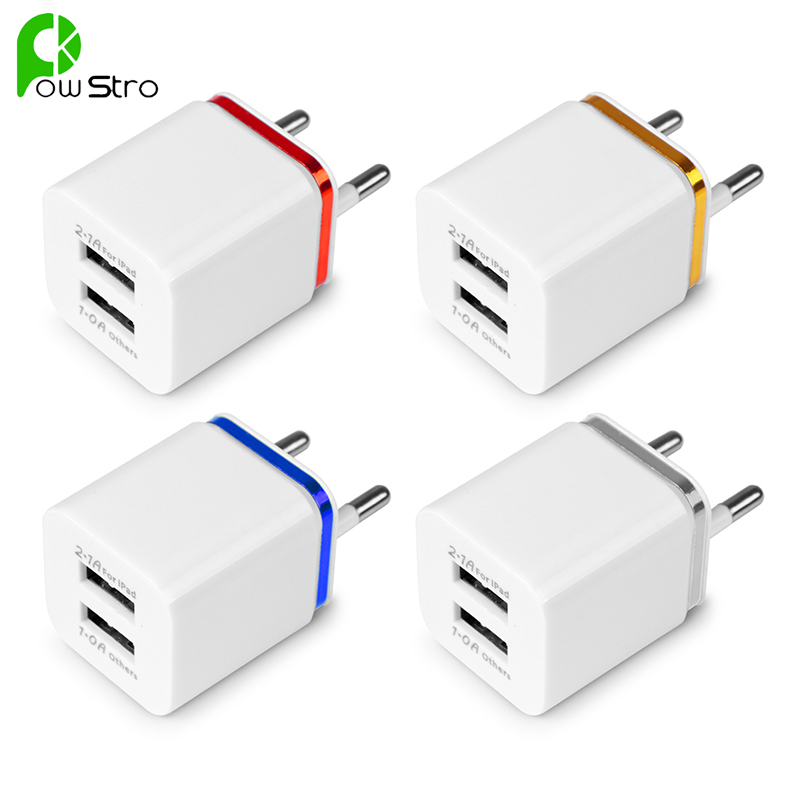 POWSTROTravel Dual Port Adapter For iPhone Samsung iPad Android Phone Charger US Plug or EU Plug 2.1A Universal USB Wall Charger(China (Mainland))