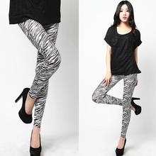 New High Waist Patterned Stripe Fitness Brand White Zebra Stripe Rayon Leggings For Women 2015 leggings L033526(China (Mainland))