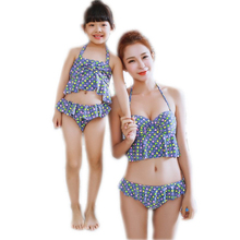Family Matching Outfits 2016 New Mother & Kids Daughter Summer Bikini Sets Mon and Me Dress Clothes Girls Family Outfits Look(China (Mainland))