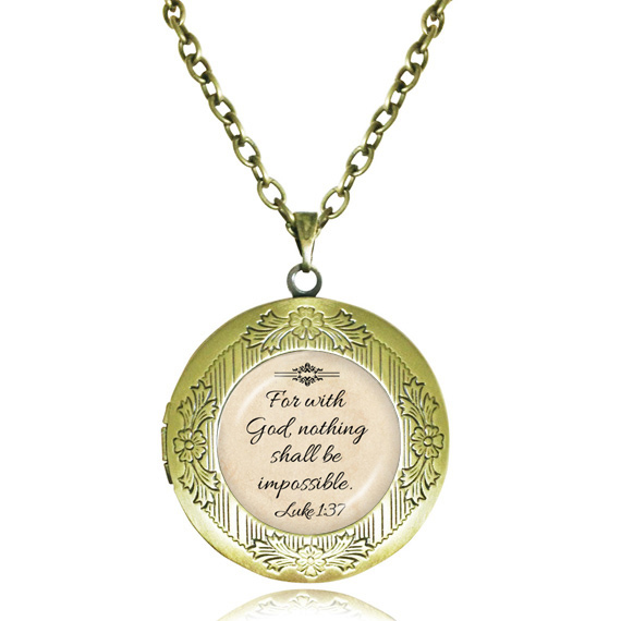 Faith locket necklace Christian jewelry Jesus pendant glass dome Fan With God Nothing is Impossible letter locket Jewelry(China (Mainland))