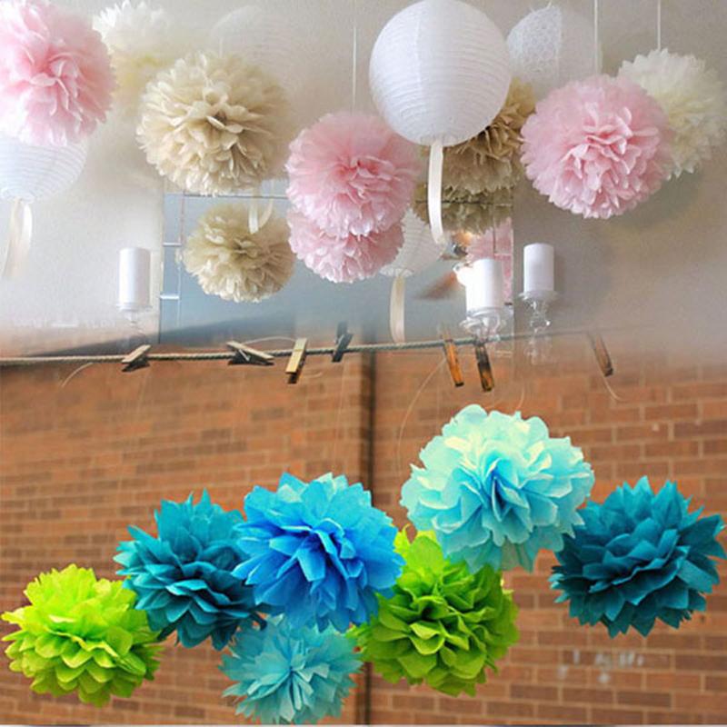 30pc 4 10cm tissue paper pompom decorative flower wedding for Baby shower flower decoration