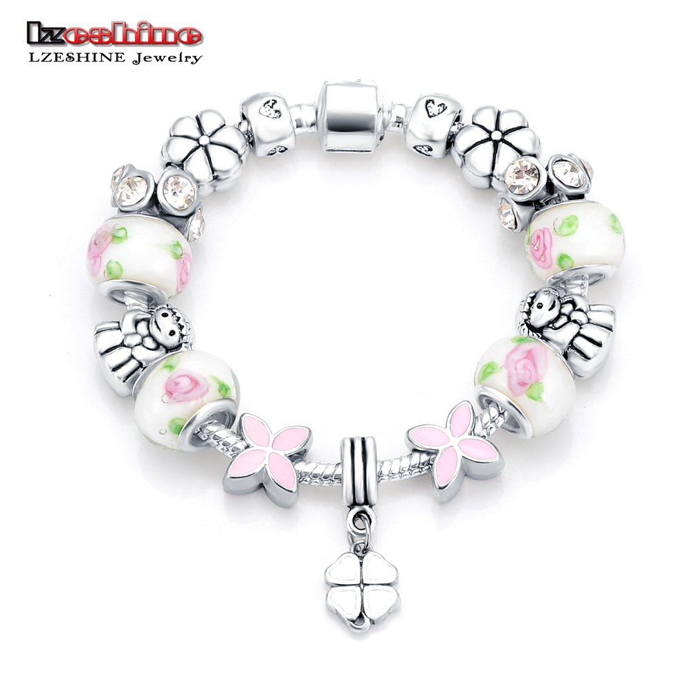 LZESHINE Newest Antique Silver Snake Chain Bracelets & Bangles Glass Beads Jewelry European American Bracelet Pulseira Gift 2016(China (Mainland))