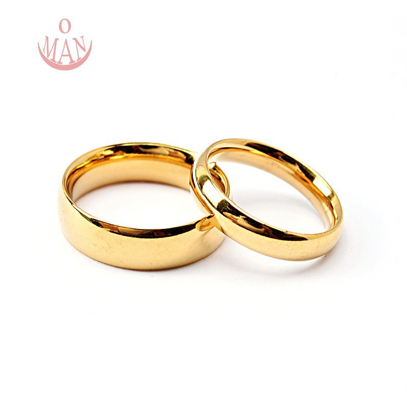 size 6 12 5 18k gold plated stainless steel wedding bands ring couple