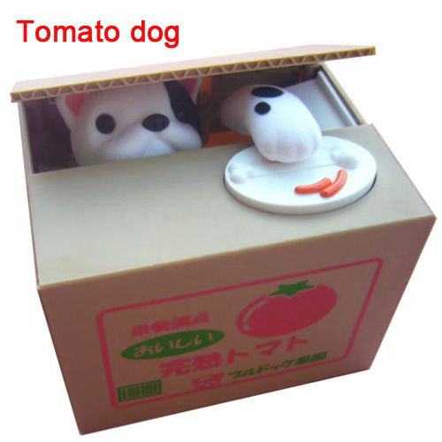 Creative piggy bank Storage tanks Christmas gift electronic Children's birthday gift toys Dog eat coins money box tomato dog(China (Mainland))
