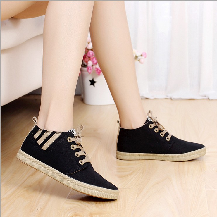 canvas Flat women shoes fashion low help woman sneakers casual Lace zapatos mujer student sports sapatos femininos - Shanghai Emanuel Trade Co., Ltd. store