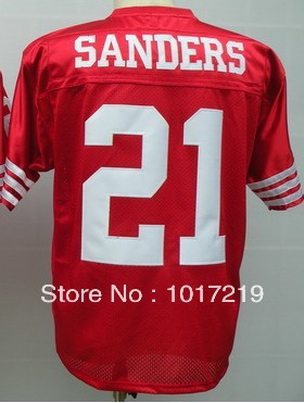 Wholesale Cheap Men's American Football Jerseys #21 Deion Sanders M&N Throwback Jerseys,Name and Number Stitched(China (Mainland))