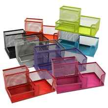 Top Quality Multifunctional Metal Pen Holder Mesh Pencils Desk Desktop Storage Organizer Box Three Slots Home Office Stationery(China (Mainland))